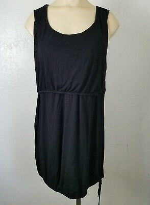Latched Mama Breatsfeeding Nursing Long Tunic Tank Top Womens L Black Modest