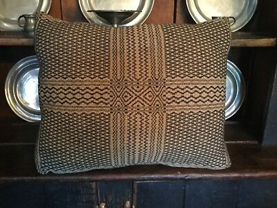 Primitive Colonial Country Farmhouse Woven Coverlet 2 Sided Pillow Made In USA