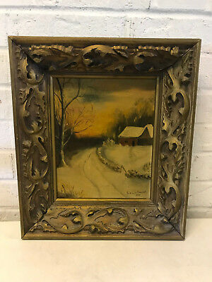 Antique 1939 Evelyn Paubel Signed Oil on Canvas Board Winter Landscape Painting