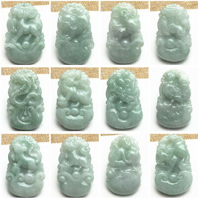A Grade Green jadeite Ice pendant 12 Chinese Zodiac Burma jade Kid Lady Necklace