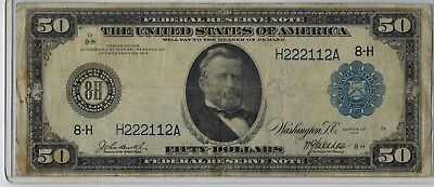1914 $50 Federal Reserve Note FR 1052 St.Louis, MO (8-H) Burke-McAdoo signed F