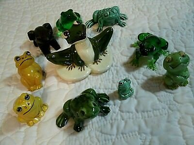 Lot of 10 Collectible Vintage Frog Figures Plastic, Glass, Wood, Ceramic CUTE!