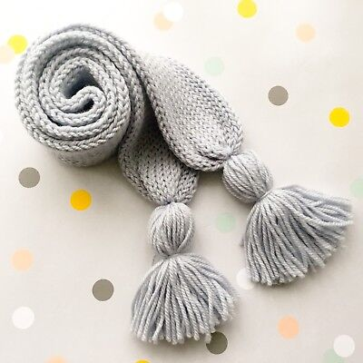 Hand Knitted Toddler Child Scarf Scarves Grey Blue, Australian Pure Wool