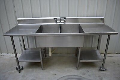 2 COMPARTMENT SINK with UNDER SHELVES STAINLESS STEEL 84""