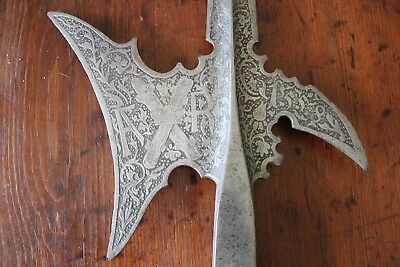 FANTASTIC ENGRAVED 16th CENTURY DATED 1558 HALBERD WITH  CORONET AND INITIALS FR