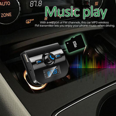 Bluetooth Wireless Car Kit FM Transmitter Radio Hands-free Adapter USB Charger
