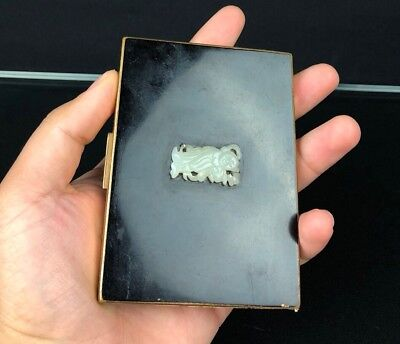 Gorgeous Elgin American Metal Box With White Jade Pendant NO RESERVE!!