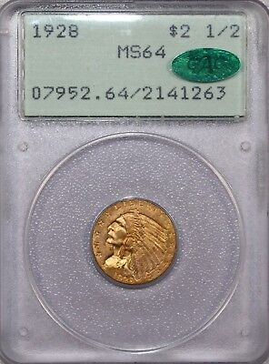 1928 $2.5 Gold Indian Quarter Eagle Ms 64 Pcgs Cac + Old Green Holder - Nice!!!