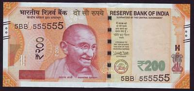INDIA, 200 Rupees Super Fancy Number 5BB 555555, UNC
