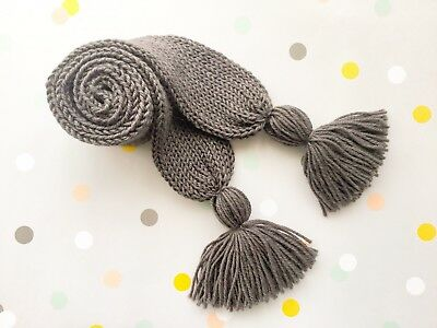 Hand Knitted Toddler Child Scarf Scarves Brown, Australian Pure Wool