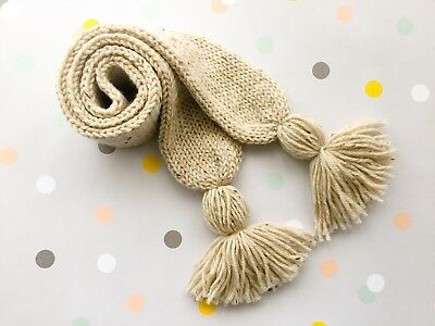 Hand Knitted Toddler Child Scarf Scarves Beige, Australian Pure Wool