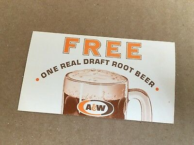 Vintage A&W Root Beer Free One Real Draft Root Beer business card coupon