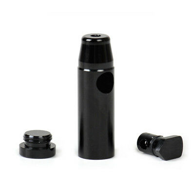 Removable Sniffer Snorter Snuff Rocket Metal Bullet Box Powder Dispenser Black