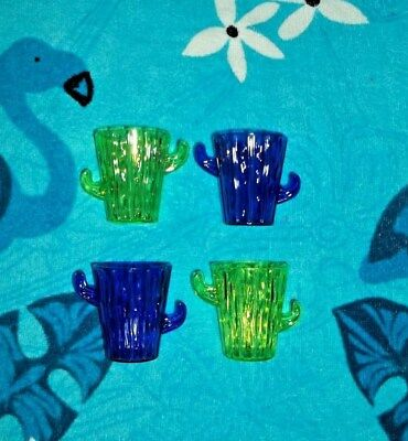 New 2 Lime Green And 2 Purle Cactus Shaped Shot Glasses Or Dipping Sauce Cups