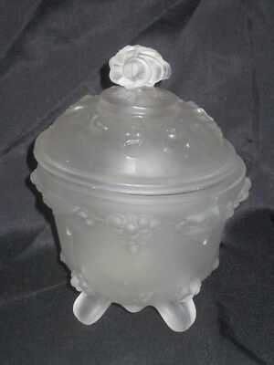 Vintage Portieux Vallerysthal France Clear Frosted Glass Sugar Bowl Grape Vine
