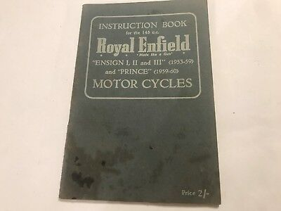 ROYAL ENFIELD 148cc ENSIGN MkI II III PRINCE OWNER INSTRUCTION BOOK MANUAL 53-60