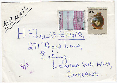 Q5074 Cape Verde air cover to UK, 1980; $5.50 rate; Artesanato stamps