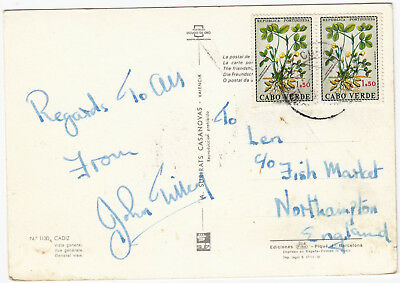 Q5075 Cape Verde postcard to UK, 1968?; pair $1.50 Amendoim plant stamps