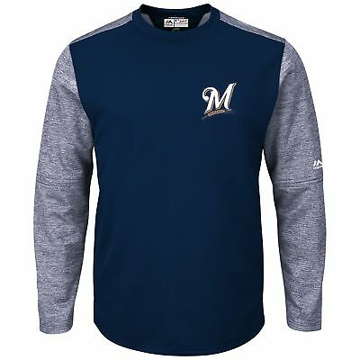 MLB Milwaukee Brewers Majestic Baseball Fleece Rundhals Top Sweatshirt Herren