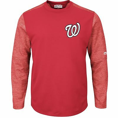 MLB Washington Nationals Majestic Baseball Fleece Rundhals Top Sweatshirt Herren