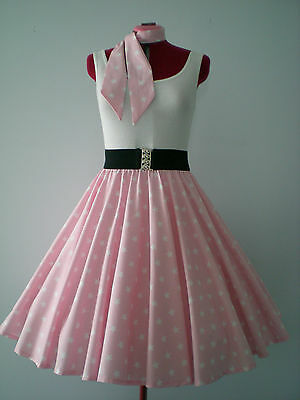 """GIRLS/CHILDS ROCK N ROLL/ROCKABILLY """"Stars"""" SKIRT & SCARF XS-S Pale Pink/White"""