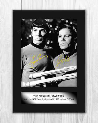 Star Trek A4 Shatner & Nimoy (2) signed mounted poster. Choice of frame.