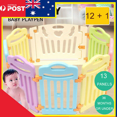 13 Sided Panel Baby Playpen Interactive Kid Toddler Room Lock Fence Safety  Gate
