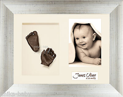 New 3D Baby Casting Kit Hand Foot Bronze Cast Antique Silver Photo Display Frame