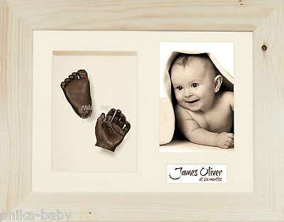 New 3D Baby Casting Kit Hand Foot Bronze Cast Photo Display Frame Natural Pine