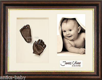New 3D Baby Casting Kit Hand Foot Bronze Cast Photo Display Mahogany Gold Frame