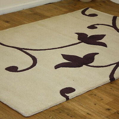 Small Large Modern Floral Designer 100% Pure Indian Wool Clearance Rugs In Cream