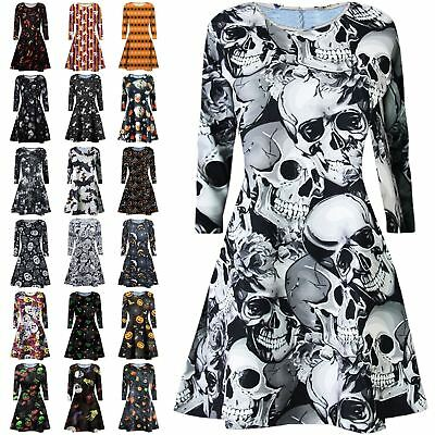 New Ladies Sipder Bat Web Smock Print Flare Halloween Swing Dress Fancy Mini Top