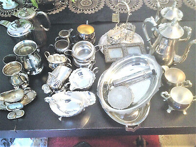 Box Silver Plate 4pc Teaset, 2 Water Jugs, etc Some Cleaned, Some Not, Mixed