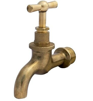 "1/2"" GARDEN TAP OUTDOOR POLISHED OLD STYLE VINTAGE water lever bib brass"