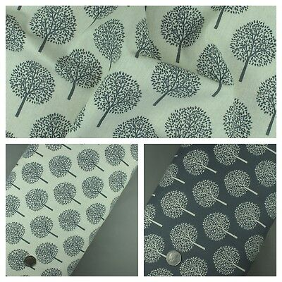 Cotton Linen Fabric Money Tree Print Grey and Cream - Sold per metre