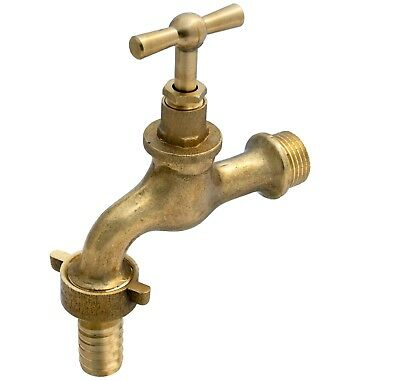 """1/2"""" GARDEN TAP POLISHED OLD STYLE VINTAGE WITH HOSE ADAPTOR water lever bib tap"""