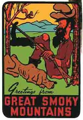 Great Smoky Mountains   Hillbilly   Vintage Looking  Travel Decal  Sticker Label