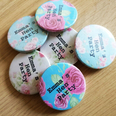 Personalised Floral Hen Party Badge Turquoise Accessory Bride to Be Vintage Gift