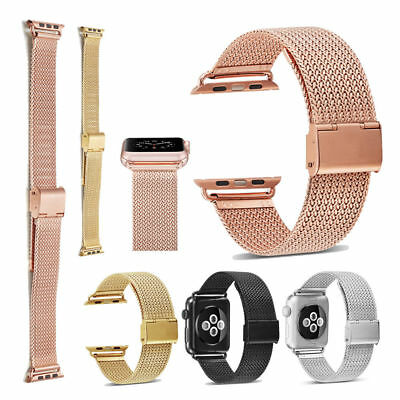 Woven Nylon Sport Stainless Steel Milanese Loop Band Strap For Apple Watch 3 2 1