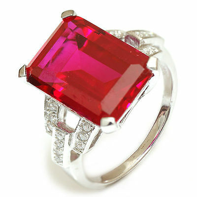 9.5ct Gorgeous Large Ruby  Sterling Silver Ring Size 8 unique Stunning Ladies