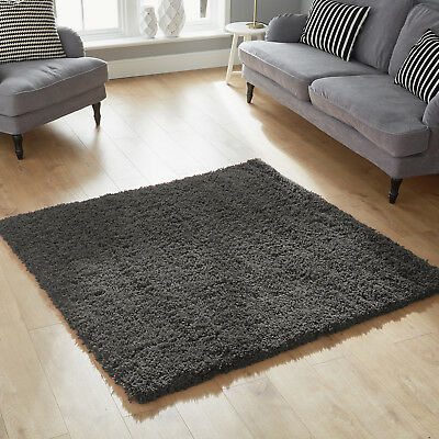 Modern Anthracite Soft Extra Large Runner Thick Dune Shaggy Clearance Budget Rug