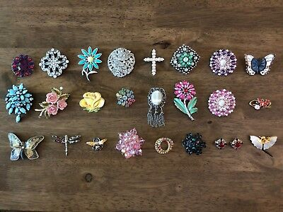 Vintage Lot Of 25 Brooches Pins Jewelry Butterfly Floral Rhinestone Brooch