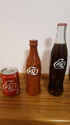 Set of 3 Coca Cola bottles & can from Thailand. Rare, unique, fathers day gift!