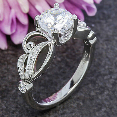 Fashion Women 925 Silver Jewelry Round Cut White Sapphire Wedding Ring Size 6-10