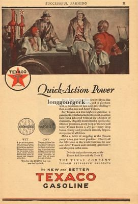 1928 TEXACO Gasoline People Relaxing Football Player Gas Pumps art Vtg Ad