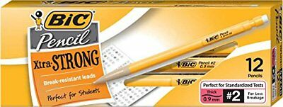BIC Pencil Xtra Strong (Yellow Barrels), Thick Point (0.9 mm), 12-Count