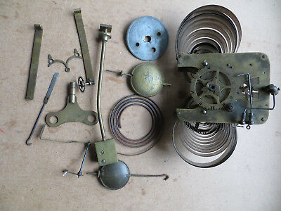 Job lot various clock parts, part complete chiming mechanism, main springs etc