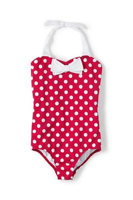 NEW 12 LANDS END Girls Swim Suit Polka Dot Red/White Bow 1 Piece Halter