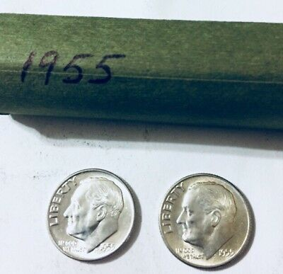 Roll(50) Roosevelt Dimes 1955 Totally Uncirculated