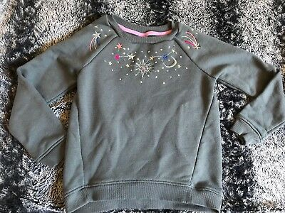 Gymboree Girls 7-8 Grey Cotton Blend Moon & Stars Embroidered Pullover